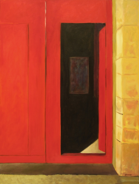 Purple Shadows/Red Doorway by Mary Jo Kennard